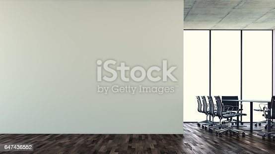 istock Empty office interior with conference table 647436552