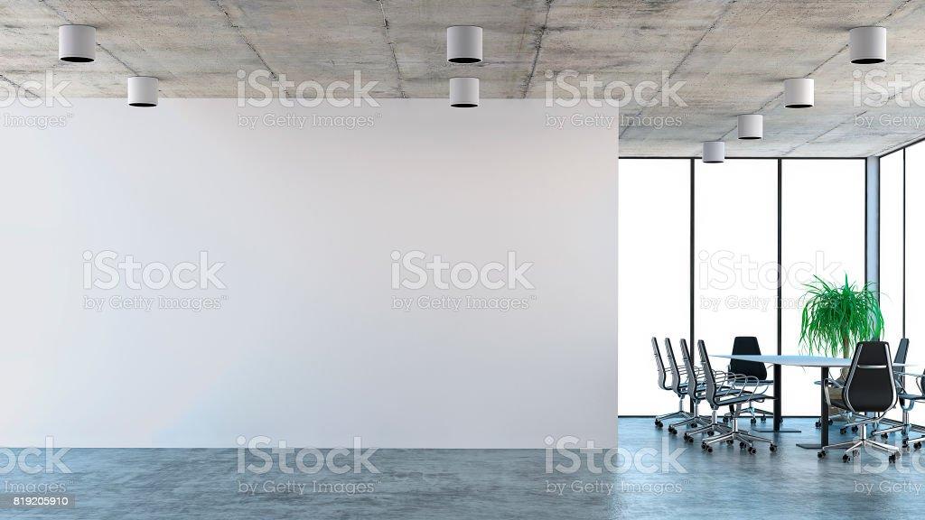 Leere Büroeinrichtung mit Konferenztisch - Lizenzfrei Beleuchtet Stock-Foto