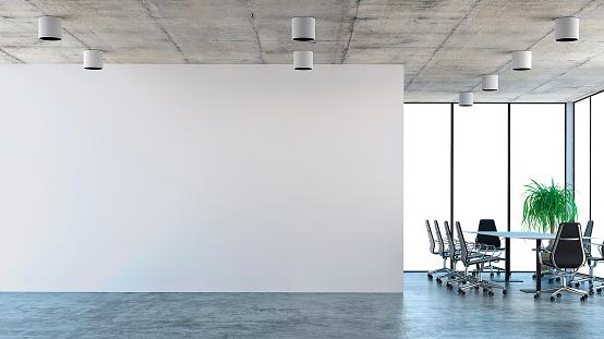 Leere Büroeinrichtung Mit Konferenztisch Stockfoto und mehr Bilder von Beleuchtet
