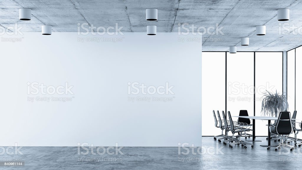 Empty office interior with conference table stock photo