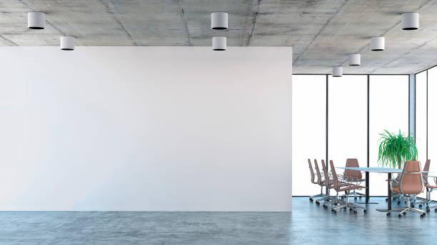 leere büroeinrichtung mit konferenztisch - betonboden wohnzimmer stock-fotos und bilder