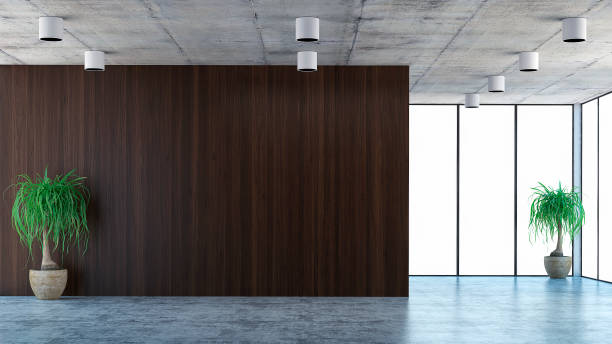 Empty office interior with decoration and copy space stock photo