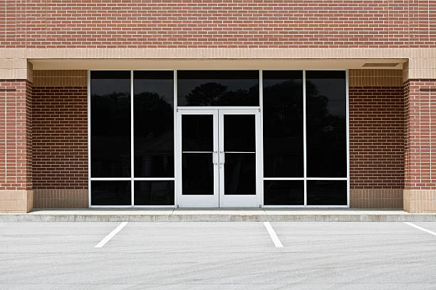 Empty Office or Storefront in Strip Mall stock photo