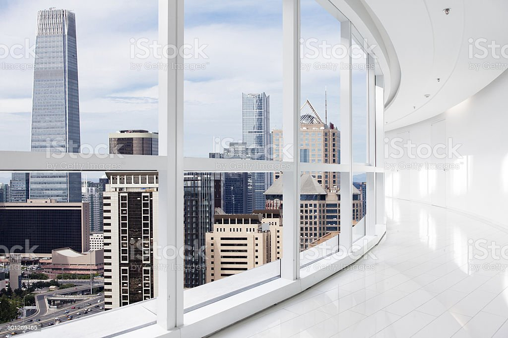 Empty office overlooking a city stock photo