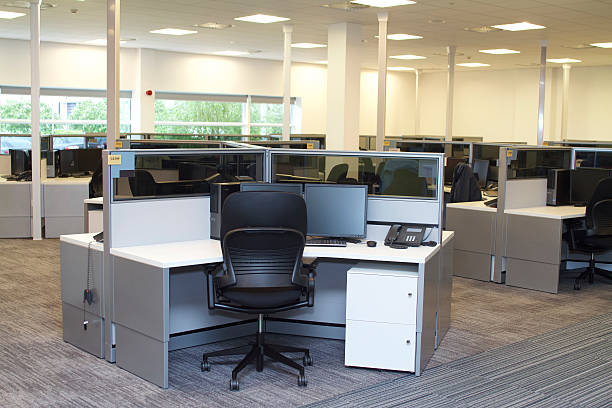 empty office - office cubicle stock pictures, royalty-free photos & images