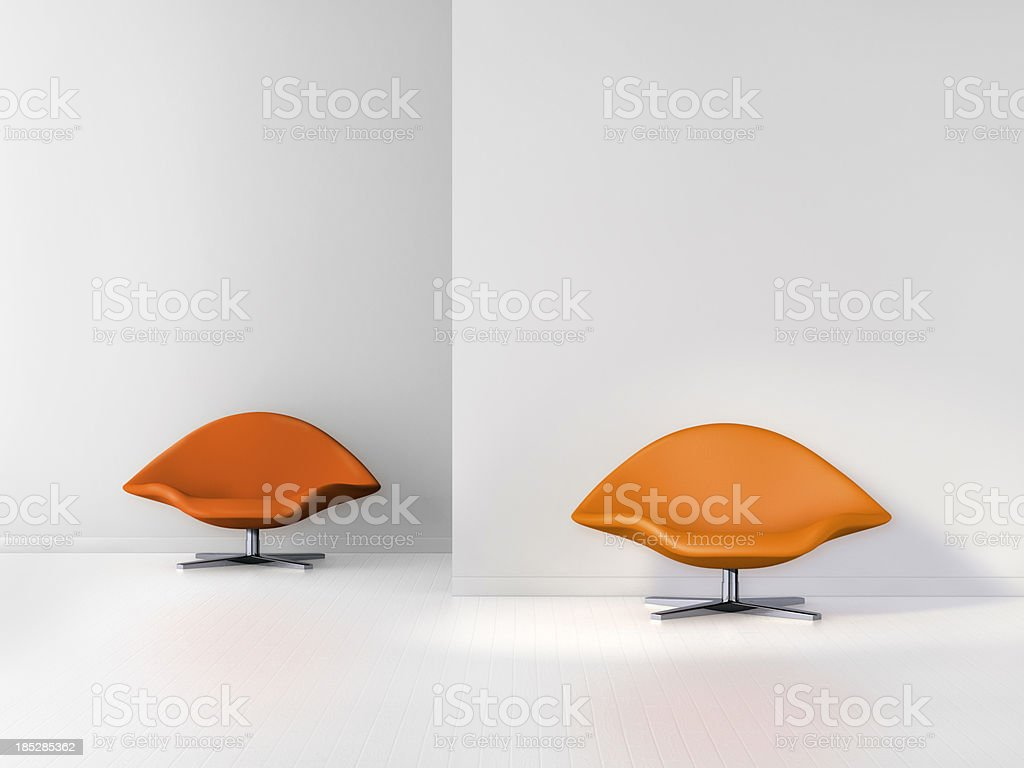 Empty office room with two modern chairs stock photo