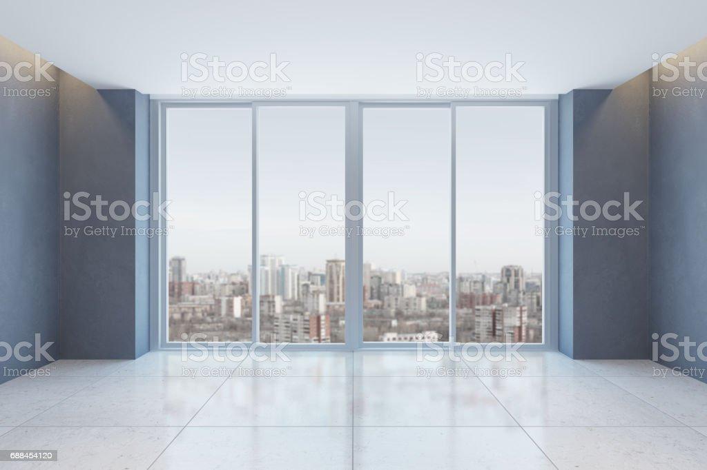 empty office room with window stock photo