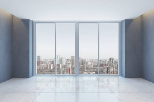 empty office room with window stock photo