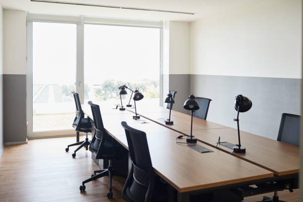 Empty office space. Lifestyle business concepts made in Barcelona. empty desk stock pictures, royalty-free photos & images