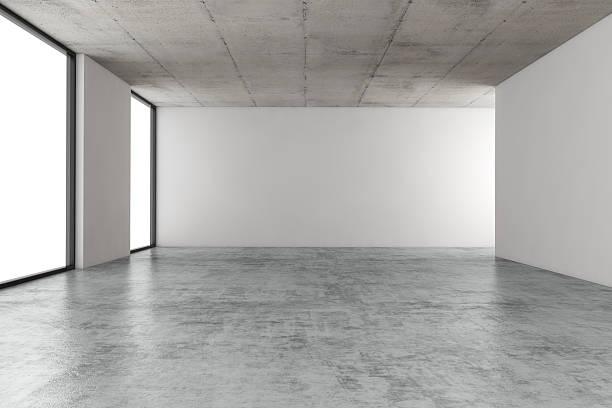 leere büroräume - betonboden wohnzimmer stock-fotos und bilder