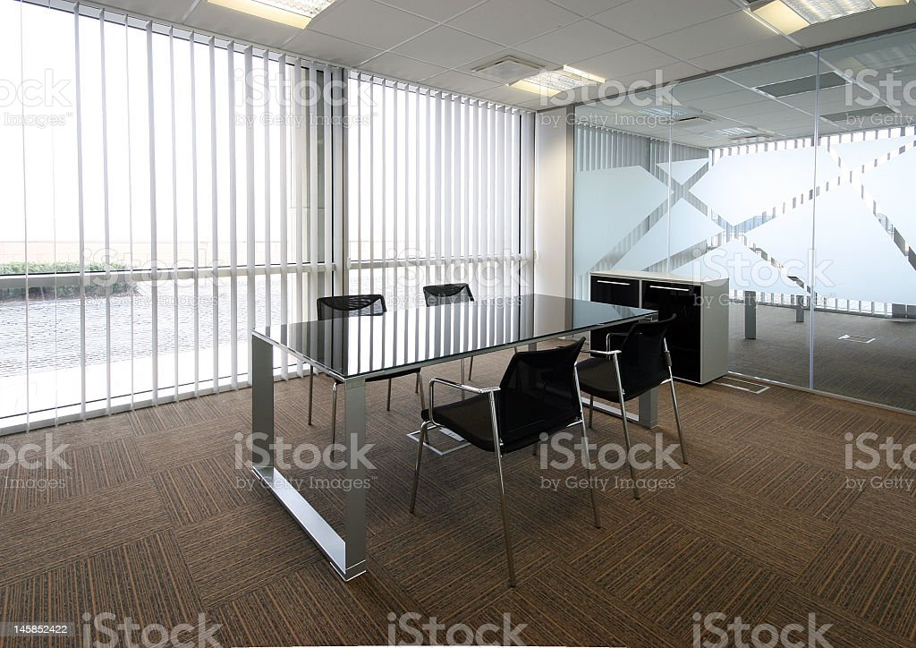Empty office with the conference table stock photo