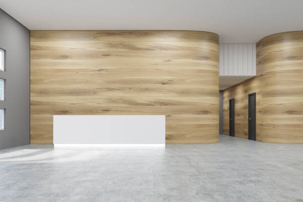 Empty office with wooden walls and reception stock photo