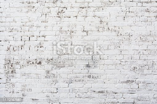 Empty Old Brick Wall Texture. Painted Distressed Wall Surface. Grungy White Brickwall. Shabby Building Facade With Damaged Plaster. Abstract Web Banner. Copy Space.