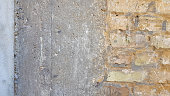 Empty Old Brick Wall Texture. Painted Distressed Wall Surface. Grungy Wide Brickwall. Grunge Red
