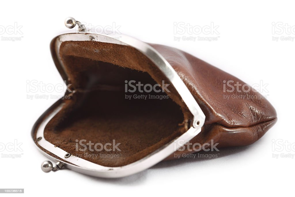 Empty old Change Purse stock photo