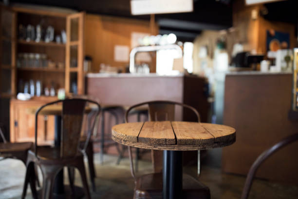 Empty old fashioned cafe bar in Taipei / Homestyle Cafe / Family owned-and-operated stock photo