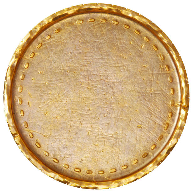 Empty old gold coin stock photo