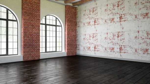 lege oude interieur met bakstenen muur en houten parket - loft stockfoto's en -beelden