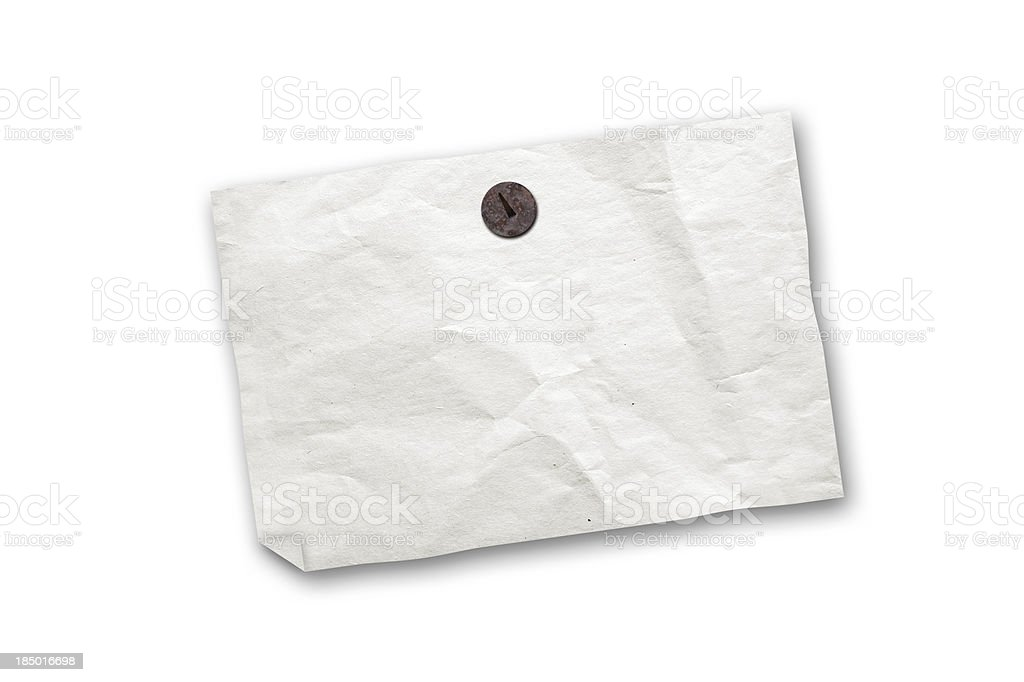 Empty old paper ad isolated on white royalty-free stock photo