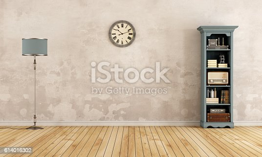 istock Empty old room with little bookcase 614016302