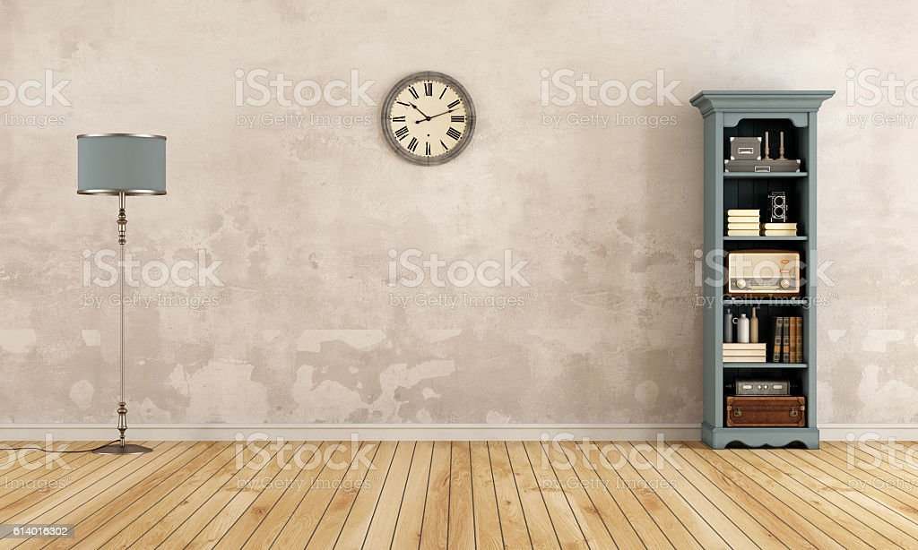 Empty old room with little bookcase stock photo