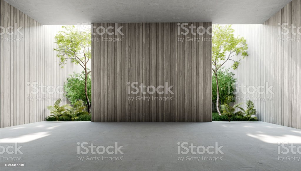 Empty old wood plank wall 3d render Empty old wood plank wall 3d render,There are concrete floor,Behide the backdrop is a tropical garden,sunlight shine into the room. Apartment Stock Photo