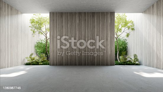 istock Empty old wood plank wall 3d render 1280987745