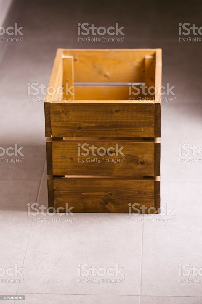 Empty old wooden container box royalty-free stock photo