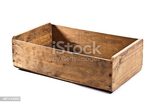 Side view of an empty wooden crate isolated on white backdrop. The crate is an old one showing signs of extensive use like stains and scratches. DSRL studio photo taken with Canon EOS 5D Mk II and Canon EF 100mm f/2.8L Macro IS USM