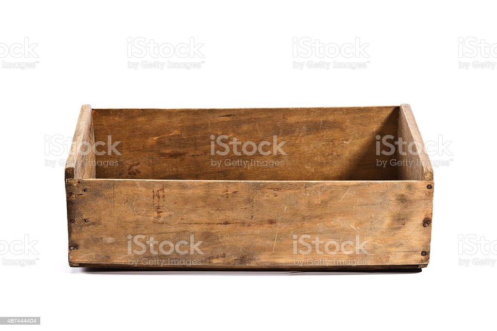 Empty old wooden crate isolated on white backdrop stock photo