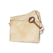 istock Empty old yellowed paper layout for vintage photo or post card with retro key 1130632611