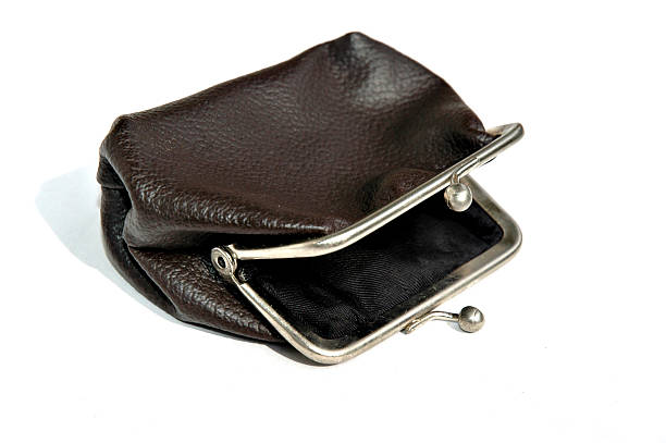 Empty old-fashioned purse  empty wallet stock pictures, royalty-free photos & images