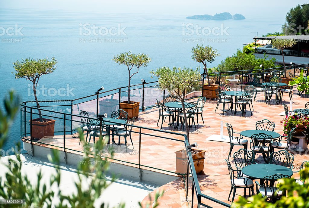 Empty open air restaurant royalty-free stock photo