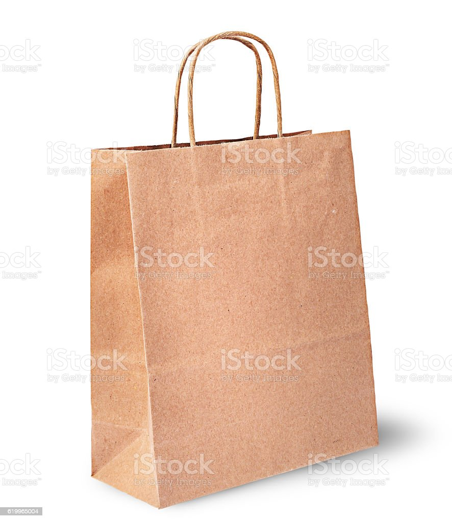 Empty open brown paper bag for food vertically stock photo