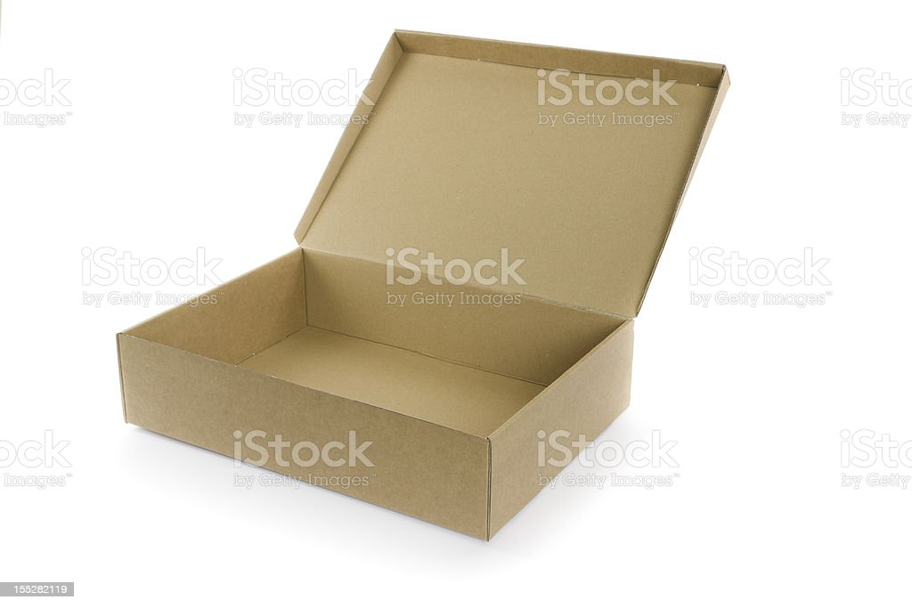 empty open cardboard box isolated on white stock photo