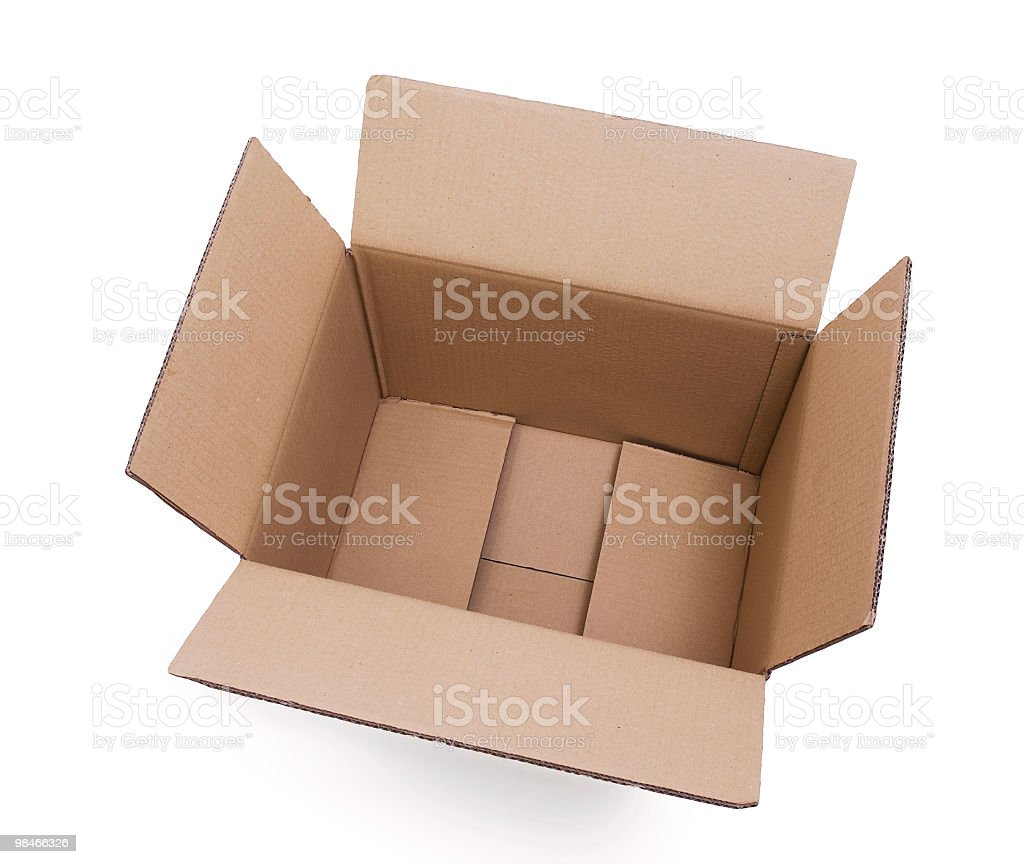 Empty open cardboard box royalty-free stock photo