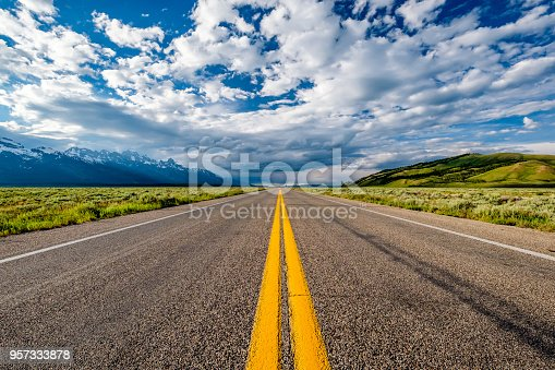 Empty open highway in Wyoming, USA