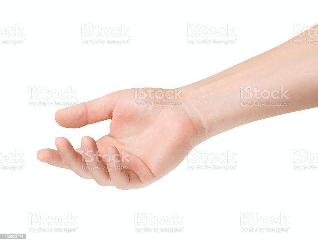 Empty open male hand stock photo