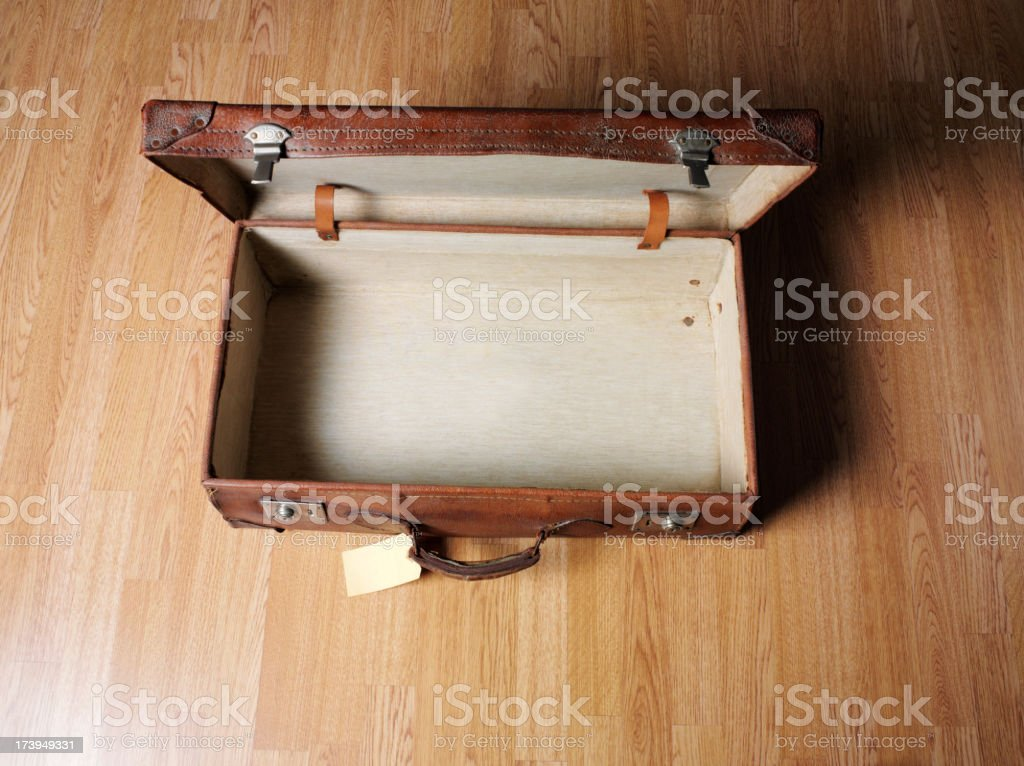 Empty Open old leather suitcase stock photo