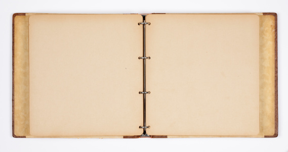 Old unfolded photo album on white paper background. Leather details and drop shadow. Clipping path for the album is included.See also:
