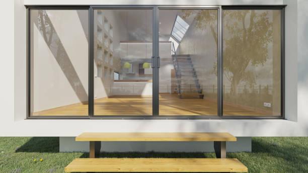 Leeres Open Plan House am helllichten Tag – Foto