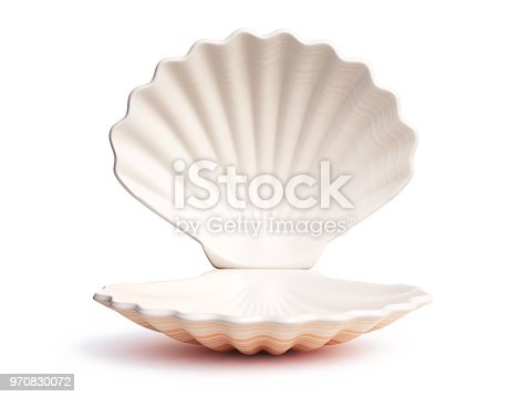 istock Empty open seashell 3d rendering 970830072
