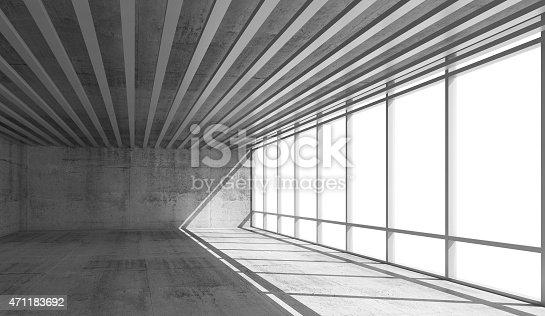 istock Empty open space interior with bright windows, 3d 471183692