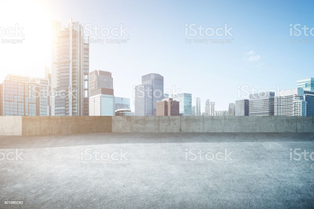 Empty Open Space Top Floor With Modern Skyscraper Building Royalty Free Stock Photo