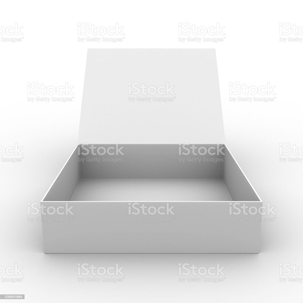 Empty open square box on white background royalty-free stock photo