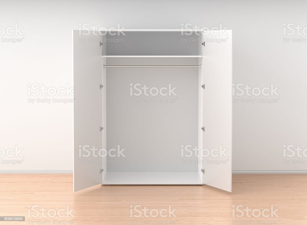 Empty open wardrobe isolated against the white wall stock photo