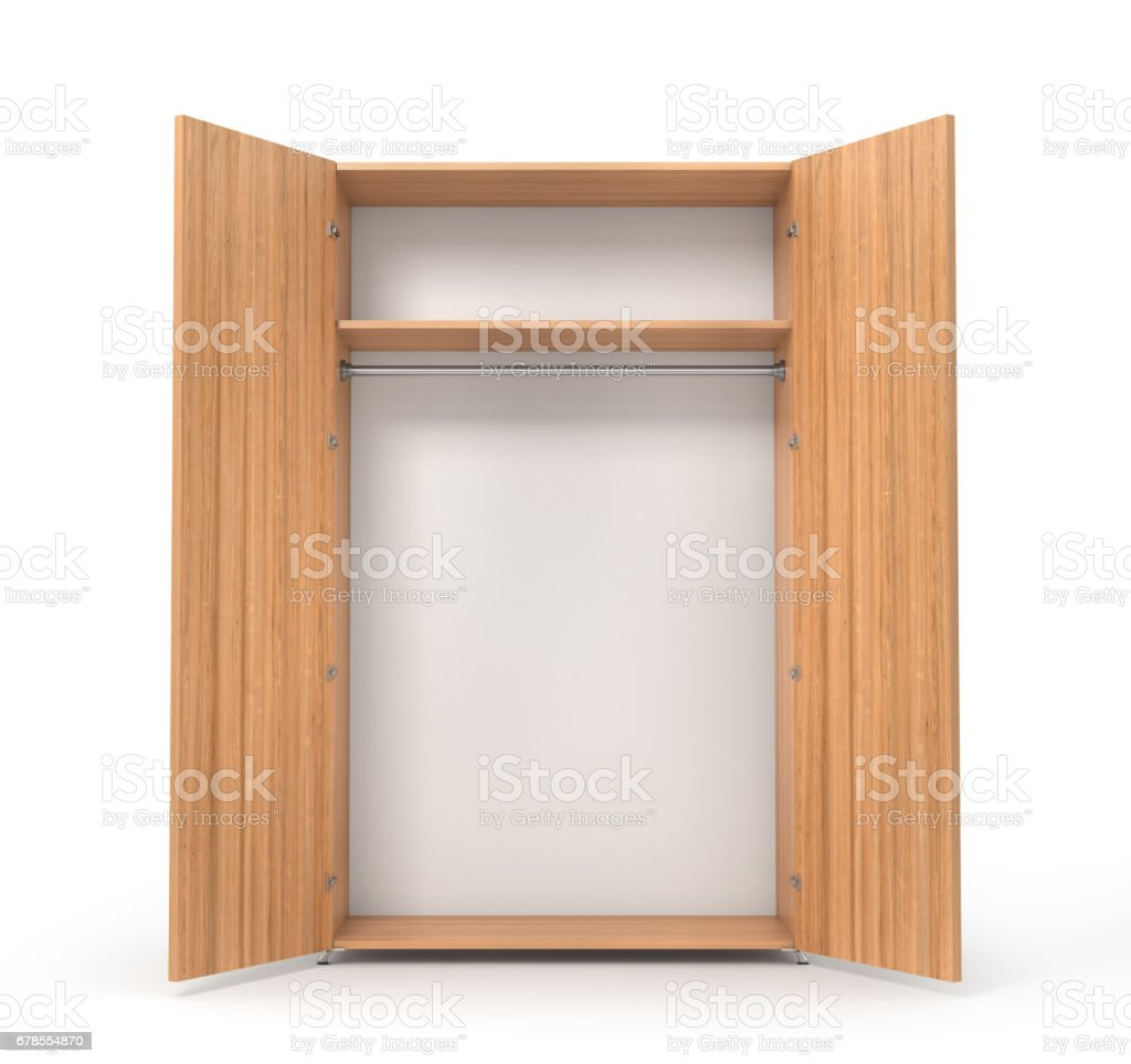 Empty open wooden wardrobe isolated on the whitebackground. 3d illustration vector art illustration