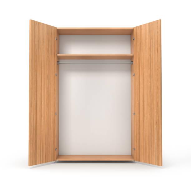 leere offene holzschrank isoliert auf die whitebackground. 3d illustration - garderobe mit schuhschrank stock-fotos und bilder