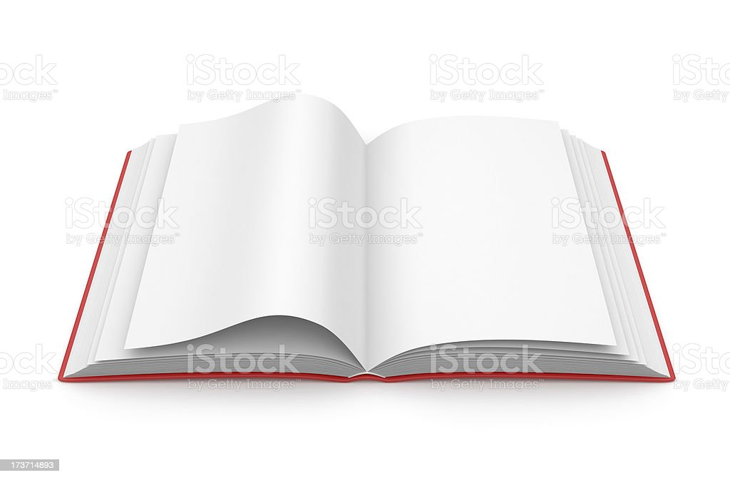 Empty opened book 3D. Education concept. Isolated royalty-free stock photo