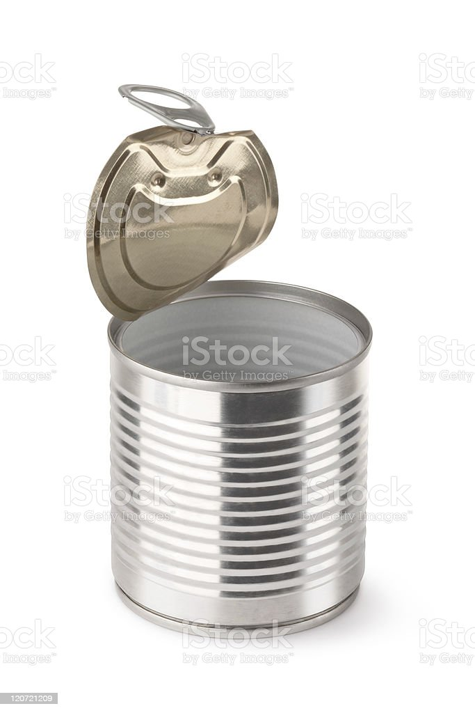 Empty opened steel can royalty-free stock photo